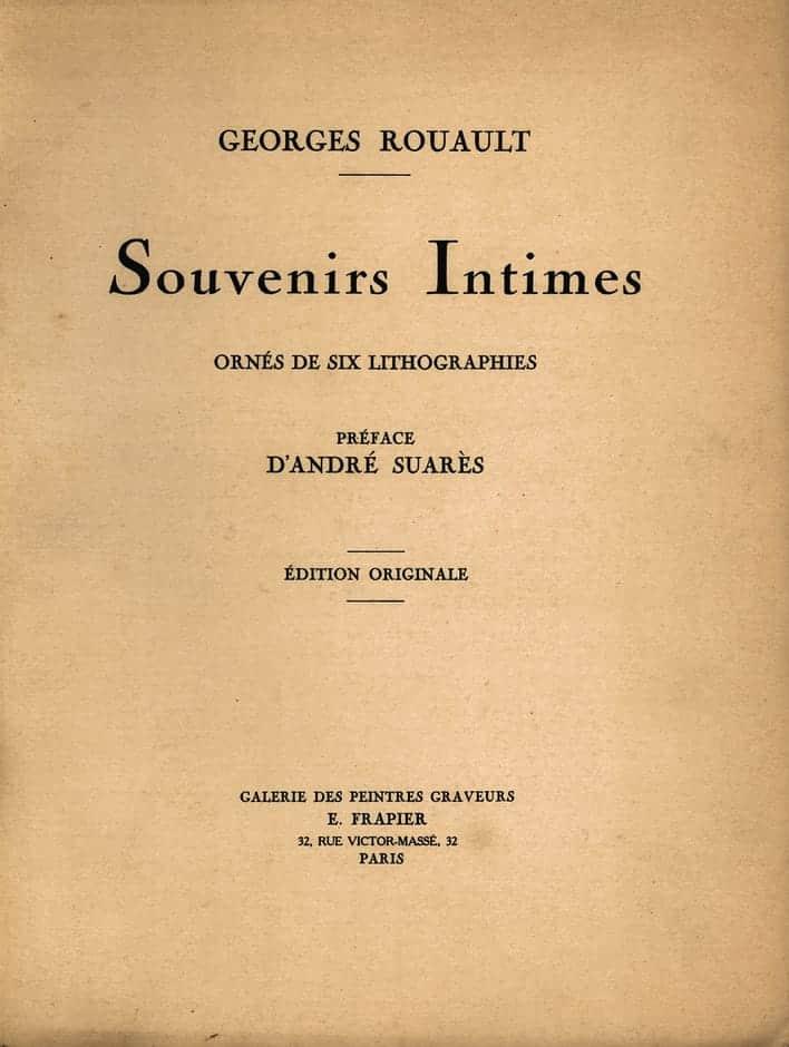 Couverture de Souvenirs Intimes, 1926